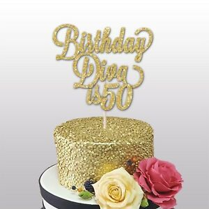 Astounding 50Th Birthday Diva Glitter Cake Topper Birthday Party 50Th Funny Birthday Cards Online Alyptdamsfinfo