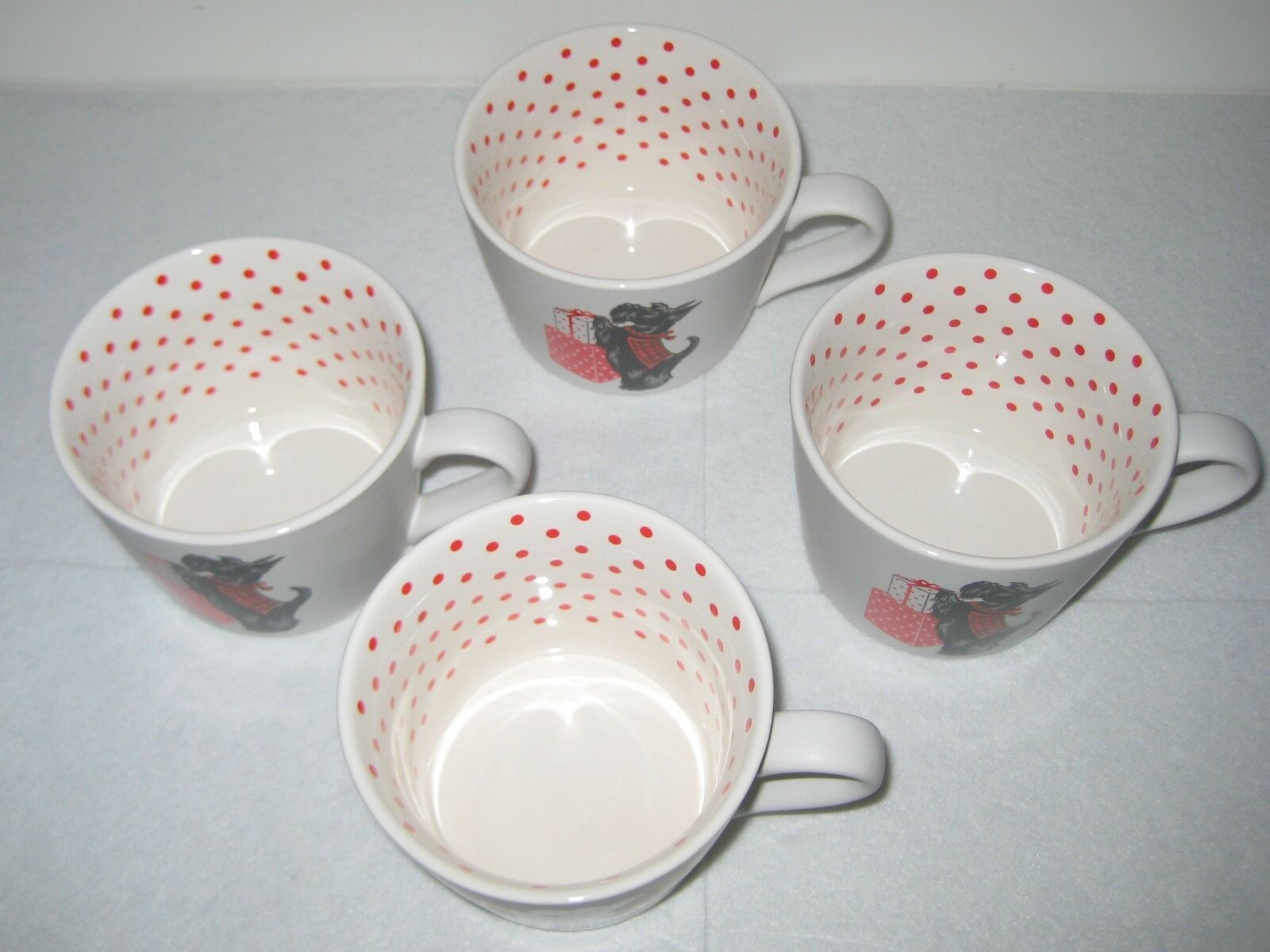 GRACE SCOTTIE DOG MERRY CHRISTMAS MUGS 12 12 12 OZ SET OF 4 New With Tags 4a7375