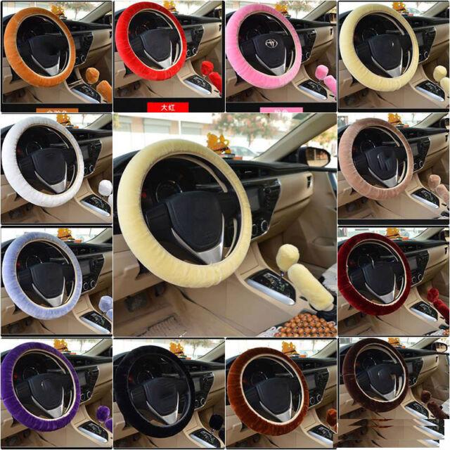 3//SET Plush Fur Fluffy Car Steering Wheel Cover Handbrake Cover Gear Knob Cover