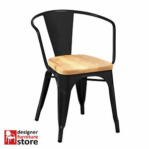 Replica-Xavier-Pauchard-Tolix-Metal-Armchair-Matte-Black-3cm-Oak-Wood-Seat