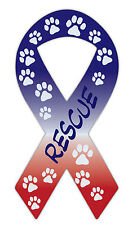 Ribbon Shaped Car Magnet: Rescue | Dog Paws, Red, White and Blue