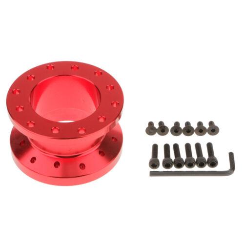 Universal 50mm Adjustable Car Mount Steering Wheel Hub Adapter Spacer Red