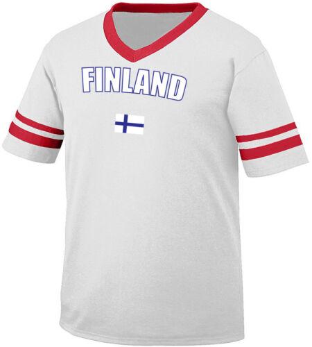 Finland Finnish Suomi Nordic Scandinavian Maamme Flag Retro Ringer T-shirt