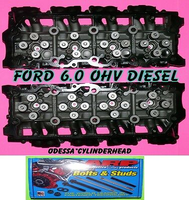 2 FORD 6.0 TURBO DIESEL F350 CYLINDER HEADS CAST#080 18MM&ARP STUDS&BOLT NO CORE
