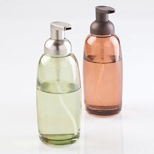 mDesign-Glass-Foaming-Soap-Dispenser-Pump-2pc-Bathroom-Accessory-Set-Green