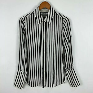Frame-Womens-Silk-Blouse-Top-Size-Small-White-Black-Striped-Long-Sleeve-Collared