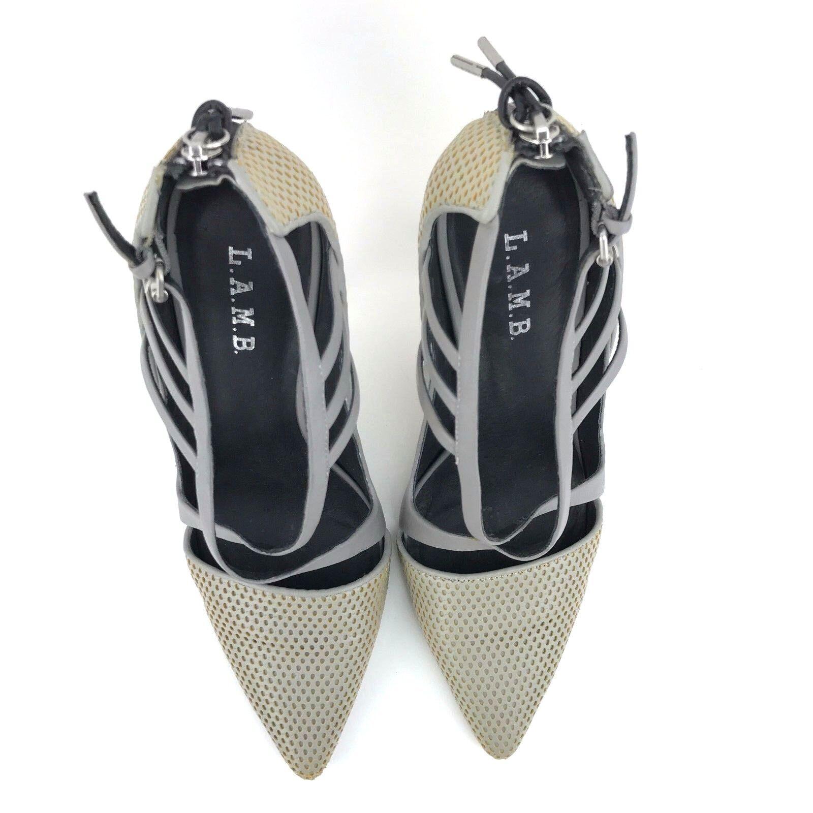 L.A.M.B. Women's 9.5 M M M Boston Pumps Grey Yellow Leather Criss Cross Straps Heels 091585