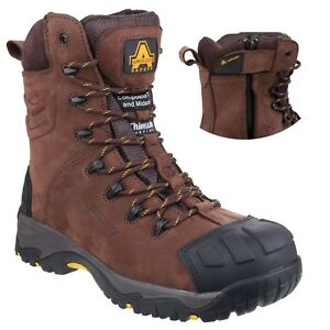 Amblers-AS995-Bota-Seguridad-Impermeable-Pilar-Marron-Cremallera-Lateral-6-14