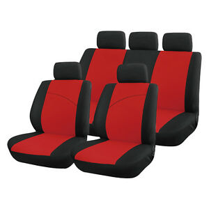 red and black front rear car seat covers soft plush velour 8 piece set ebay. Black Bedroom Furniture Sets. Home Design Ideas