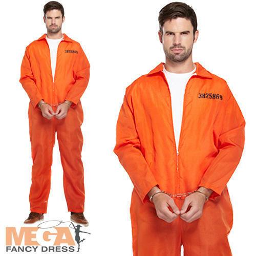 Orange Prisonnier Chaudière Costume Robe fantaisie homme bagnard Overalls Adultes Costume