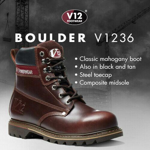 MENS VTech V12 BOULDER HIDE LEATHER WORK SAFETY STEEL TOE CAP /& MIDSOLE BOOTS SZ