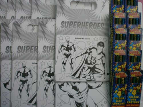 Crayons *Party Boxes* x 5 x 10 Super Hero Colour In Lunch Boxes