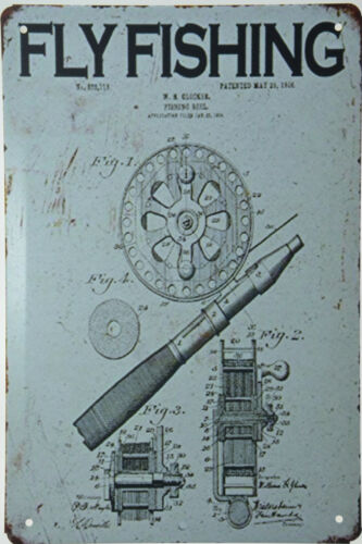 """Fly Fishing Reel Tackle Rod Patent Drawing 1924 Retro Metal Tin Sign 8x12/"""" NEW"""