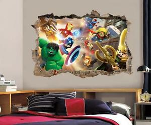 LEGO MARVEL DC Smashed Wall D Decal Removable Graphic Wall - Lego superhero wall decals