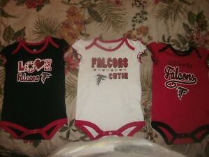 competitive price b31e6 b99ed Details about Atlanta Falcons Baby Girls Cutie Football Lot of 3  Bodysuit/Creepers 12m (B159)