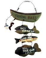 Wood Fishing Rules Sign Fish Boat Nautical Home Garage Shop Hanging Wall Decor