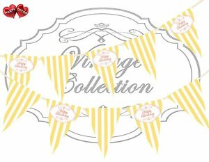 Vintage-Coral-Happy-Birthday-Sunny-Yellow-White-Stripes-Bunting-Banner-15-flags