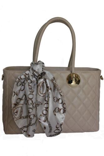 ital.Henkeltasche Handtasche Damentasche Stepptasche beige Nappa Leder gesteppt