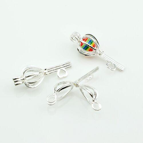 3 trozo jaula remolque 39,5x14,5mm clave corazón medallón perlas jaula 2842
