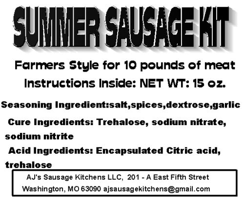 Everything except the meat SUMMER SAUSAGE complete sausage kit for 10 lbs