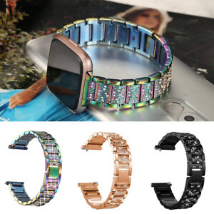 JQ-KF-23mm-Steel-Rhinestone-Wrist-Band-Watch-Strap-Bracelet-for-Fitbit-Versa