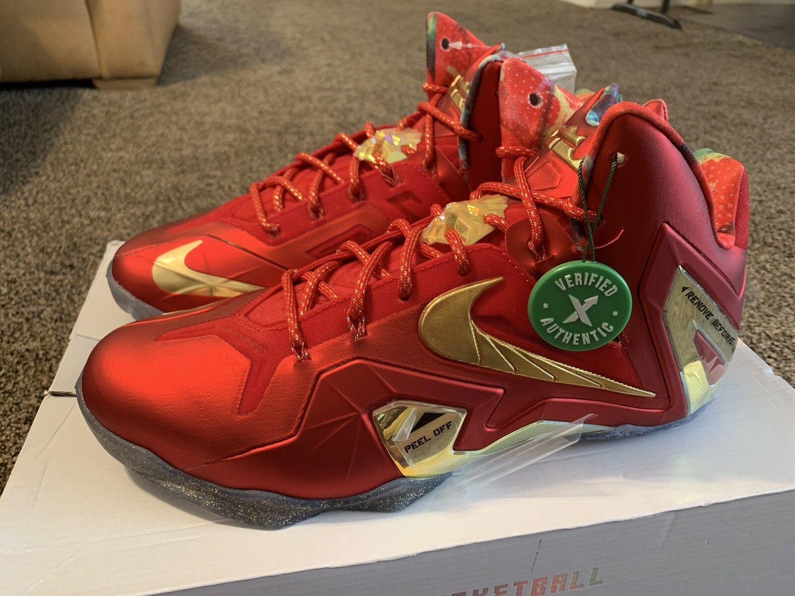 "Nike Lebron 11 XI Elite SE ""Championship Pack"" Red gold Size 12"