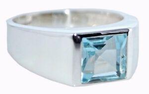 Anillo-de-plata-esterlina-genuino-piedras-preciosas-Topacio-Azul-925-Mens-tamanos-6-1-2-N-a-15-Z-5