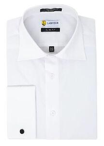 Labiyeur-Slim-Fit-White-Men-039-s-Dress-Shirt-Spread-Collar-French-Cuffs