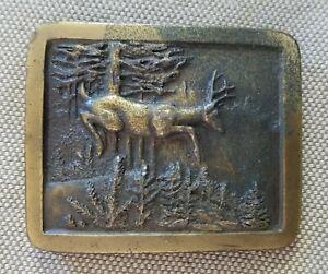 Vintage Indiana Metalcraft Belt Buckle Deer Stag in Forest 1977 Brass