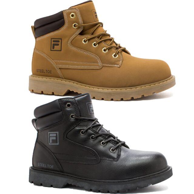 Mens Fila LANDING STEEL Steel Toe Rugged Work Boots Shoes Wheat Black NIB