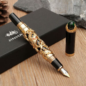 Image is loading JINHAO-Golden-Dragon-Fountain-Pen-Clip-Medium-Nib-