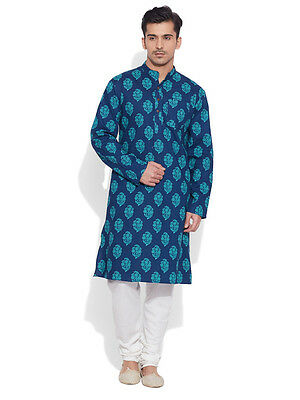 Very Me Men's Cotton Long Blue Kurta (MCLK1012)