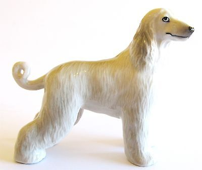 Afghan Hound Light Grey Miniature Ceramic Hand Painted Dog Figurine -Tail Down