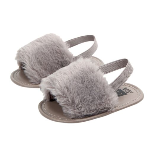 Newborn Toddler Infant Baby Letter Solid Flock Soft-Sandals Slipper Casual Shoes