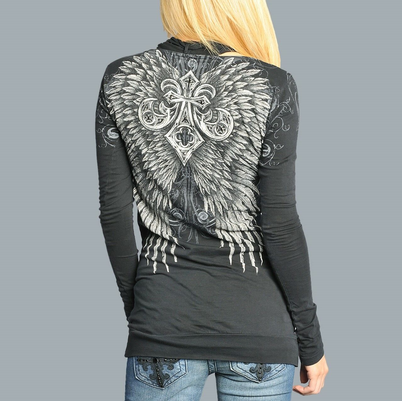 Affliction LIFELINE LS V-Neck Top damen Shirt S M NWT Wings schwarz