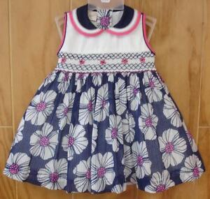 NWT Tutti Color Flower Girls Blue White Smocked Hand Embroidered Dress 12m Party