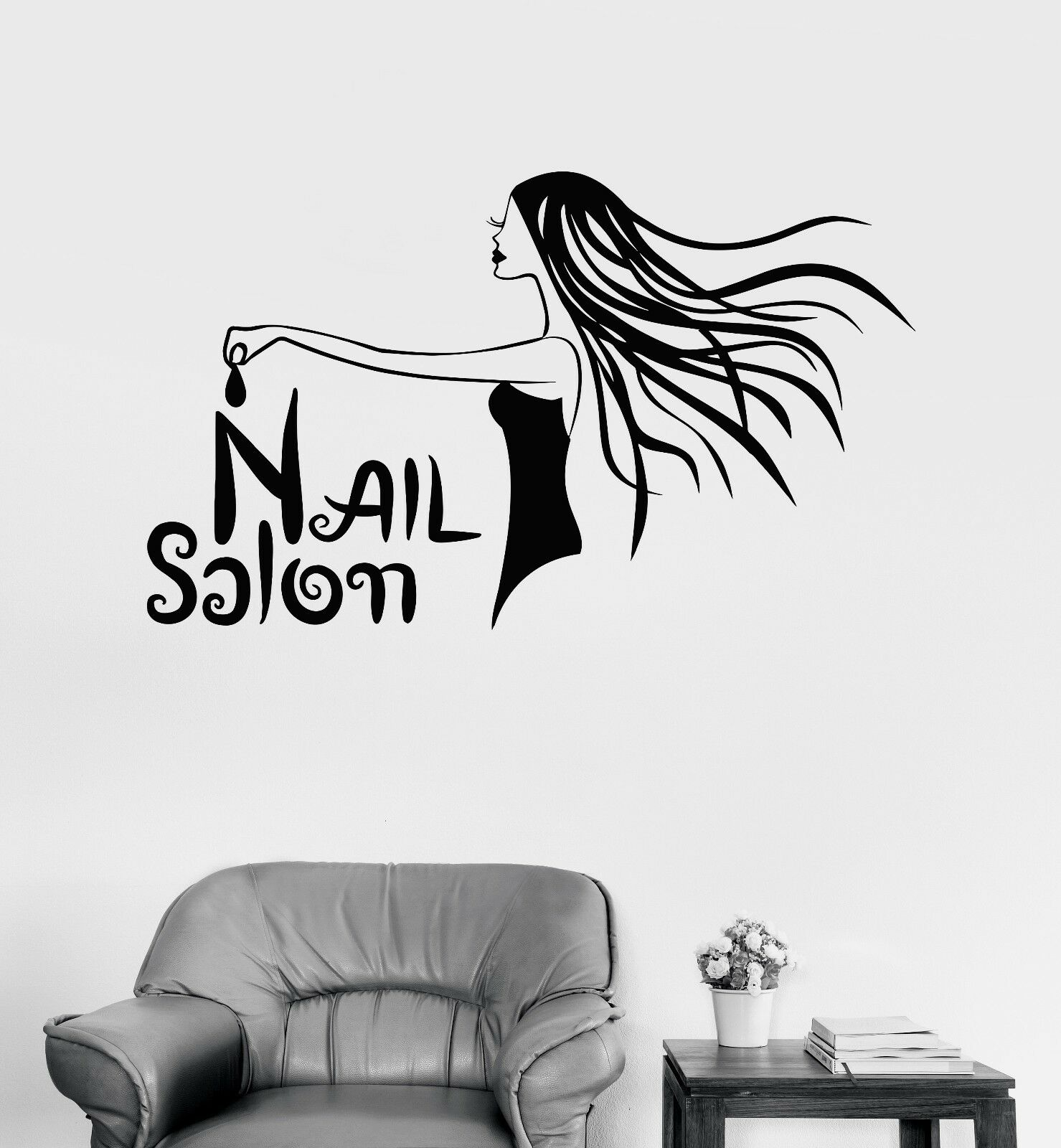 Vinyl Wall Decal Nail Salon Woman Manicure Spa Beauty Stickers Mural (576ig)