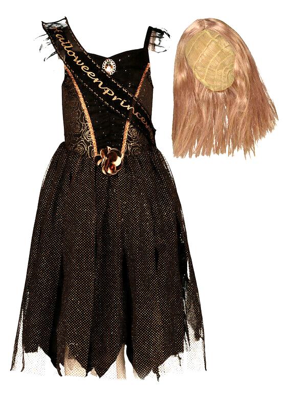 Girl`s Black & Gold Princess Halloween Dress With Wig Set 7-8 YEARS