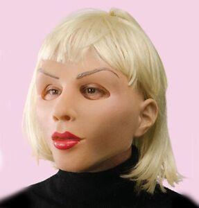 Blonde Super Doux Doux & Sexy Femelle Femme Latex Masque Halloween Bouge Avec Laissons Nos Produits Aller Au Monde