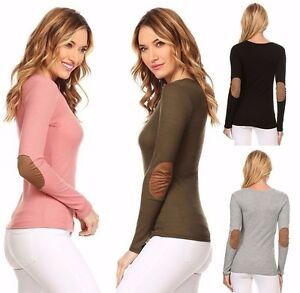 Casual-Basic-Thermal-w-Faux-Suede-Elbow-Patch-Long-Sleeve-Lightweight-Knit-Top