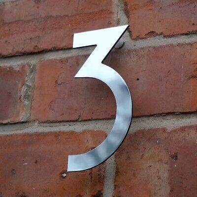 ART DECO HOUSE NUMBER MIRROR FINISH METAL HIDDEN FIXINGS 6,8,10,12 INCH