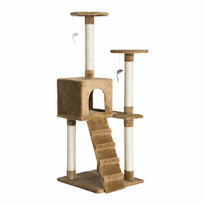 "Pawhut 52"" Multi-Level Cat Tree Tower Condo Kitty Scratch Post Toy Play Center"