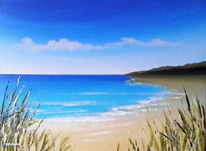 Seascape Toile Peinture à L'huile Sarah Featherstone, Vue Sur Mer, Plage, Côte, Bleu Ciel-afficher Le Titre D'origine 1tmmcpbf-10103928-368914375