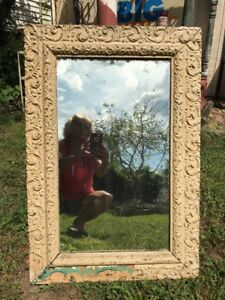 Vtg-LARGE-Victorian-Ornate-Wood-Chalk-Shabby-Painted-Framed-Cottage-Mirror