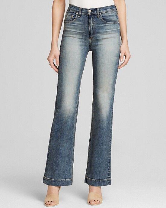 245 NWT RAG & BONE Sz 26 Justine Wide Surf Sandblast bluee High Rise Denim Jeans
