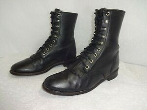 Justin Roper Womens Size 7 B Black Leather Lace Up Ankle Combat Boots 1506