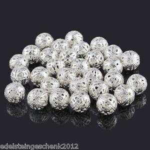 50-Versilbert-Filigran-Ball-Perlen-Beads-12mm
