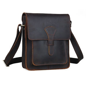 Retro-Real-Leather-Brown-Men-039-s-Shoulder-Bag-Sling-Cross-Body-Small-School-Case