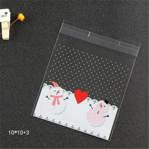 100 Pcs Self Adhesive Christmas Cookies Candy Packaging Bags Fit for Xmas Gift