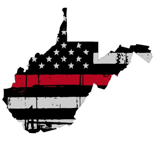 State of West Virginia Tattered Flag Thin red line decal Various Sizes